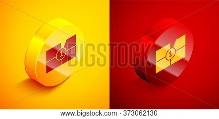 Isometric Old Film Movie Countdown Frame Icon Isolated On Orange And Red Background. Vintage Retro C
