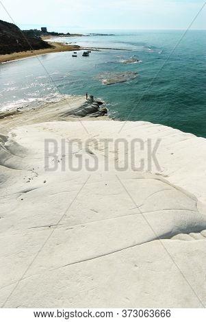white coast and turquoise sea of Sicily summer touristic natural landmark