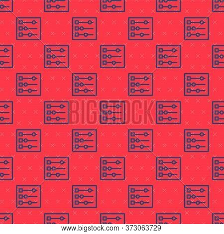 Blue Line Car Settings Icon Isolated Seamless Pattern On Red Background. Auto Mechanic Service. Repa