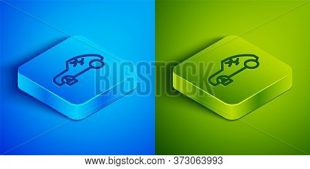 Isometric Line Broken Car Icon Isolated On Blue And Green Background. Car Crush. Square Button. Vect
