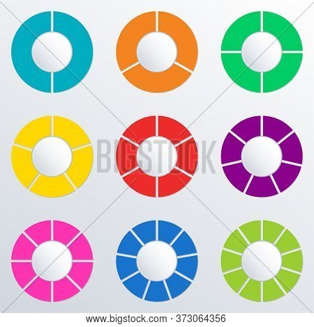 Pie Chart Set With 2,3,4,5,6,7,8,9,10 Parts Or Sections. Circle Diagram, Graph, Business Presentatio