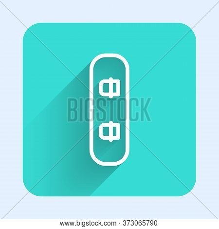 White Line Snowboard Icon Isolated With Long Shadow. Snowboarding Board Icon. Extreme Sport. Sport E