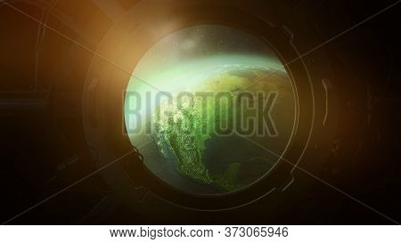 View Of Planet Earth From The Porthole From Orbit. 3d Illustration