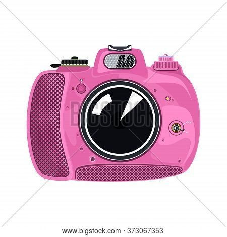 Pink Beautiful Cute Instant Print Camera , Manual Camera Isolated On White Background, Vector Illust