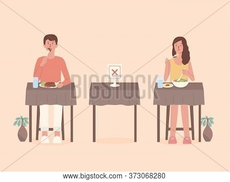 Man And Women Doing Social Distancing While Eating Food Alone At Tables In The Restaurant. Make Blan