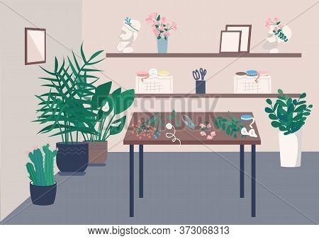 Florist Studio Flat Color Vector Illustration. Room And Equipment For Course On Flower Arrangement.