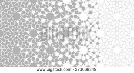 Moroccan Arabesque Grey Vector Background, Pattern. Geometric Halftone Moroccan Background With Colo