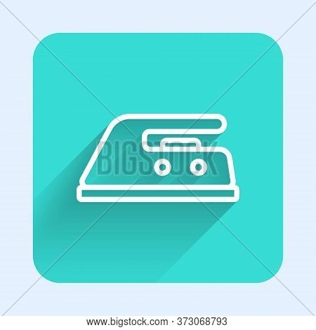 White Line Electric Iron Icon Isolated With Long Shadow. Steam Iron. Green Square Button. Vector Ill