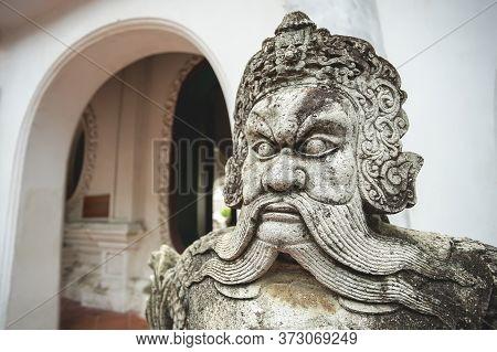 Chinese Ancient Warrior Sculpture In Wat Phra Pathomchedi, Nakhon Pathom Province, Thailand.