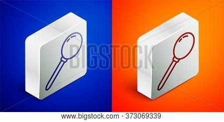 Isometric Line Push Pin Icon Isolated On Blue And Orange Background. Thumbtacks Sign. Silver Square