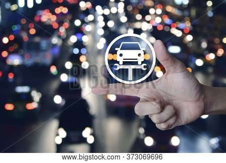 Hand Pressing Service Fix Car With Wrench Tool Flat Icon Over Blur Colourful Night Light City With C