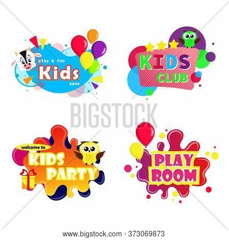 Game Room Vector Kids Playroom Banner In Cartoon Style For Children Happy Play Zone. Cartoon Letter