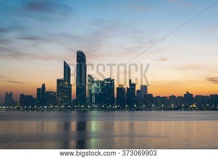 Abu Dhabi, United Arab Emirates - 13/03/2020: A Beautiful Sunrise View Of Abu Dhabi City From Marina