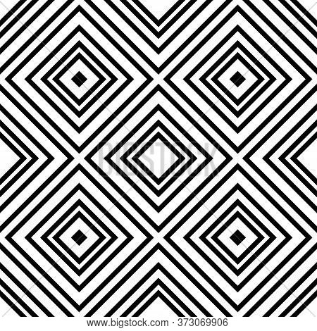 Design Seamless Monochrome Background With Rhombuses On A White Background.