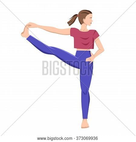 Yoga. Vector Illustration Of A Girl In A Pose Hasta Padangustasana. Vector Illustration On An Isolat
