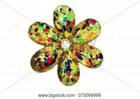 Detail Of Small Color Shiny Plastic Flower Isolated