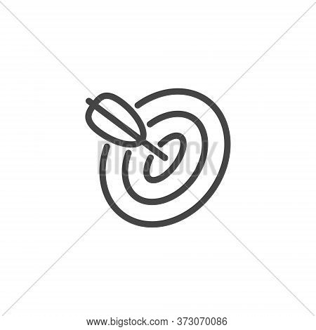 Thin Outline Icon Target And Arrow. Such Line Sign As Focusing Attention Or Concentration Attention,
