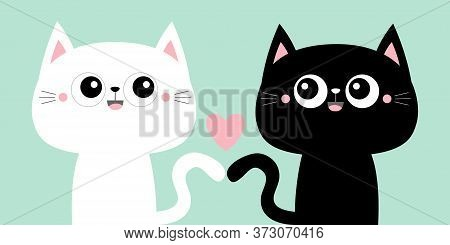 Cute Black Cat Kitty Kitten Set. Pink Heart. Kawaii Cartoon Character. Smiling Face, Tail. Happy Val