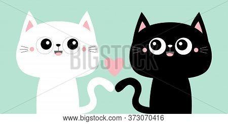 Cute Black Cat Kitty Kitten Set. Pink Heart. Kawaii Cartoon Character. Smiling Face, Tail. Happy Val