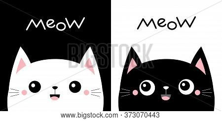 Cat Kitten Kitty Smiling Set. Meow. Kawaii Cartoon Character. Cute Face. Happy Valentines Day. Pink