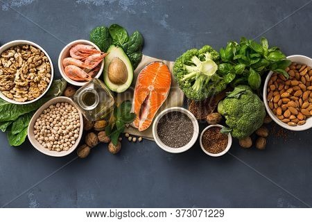 Health Food Fitness. Food Sources Of Omega 3 And Omega 6 On Dark Background Top View. Foods High In