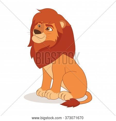 Cartoon Cute Happy Lion Sitting On The White Background. Kind Lion Vector Illustration. African Anim