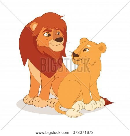 Cartoon Cute Happy Lion And Lioness Couple Sitting On The White Background. Kind Lion Vector Illustr