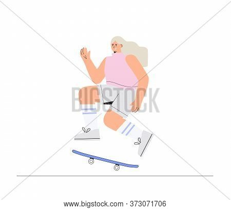 Young Happy Smiling Girl Skateboarder Rides A Skateboard. Vector Illustration In A Flat Style On A W