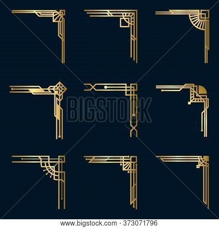 Various Vintage Gold Corners Set. Art Deco Decorative Borders And Antique Filigree Design Elements I