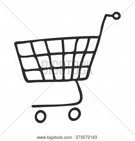 Grocery Cart From The Supermarket In Doodle Style. The Symbol Of Shopping. A Simple Black And White