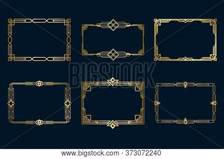 Various Vintage Golden Frames Set. Art Deco Decorative Borders And Antique Filigree Geometric Design