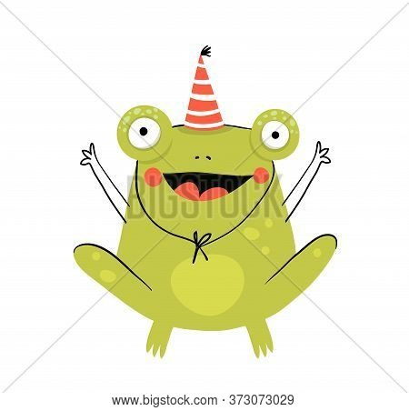 Funny Cute Amusing And Silly Frog Wearing Party Hat, Cute Smiling Happy Animal For Children. Happy B