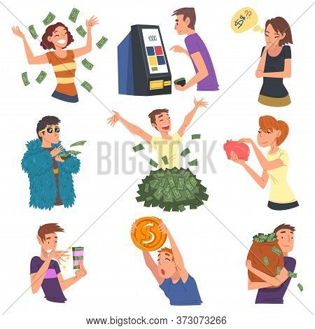 Successful Rich People Enjoying Their Wealth Set, Men And Women Carrying Moneybags, Throwing Banknot