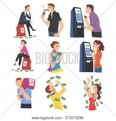 Successful Rich People Enjoying Their Wealth Set, Men And Women With Moneybags, Standing Under Money