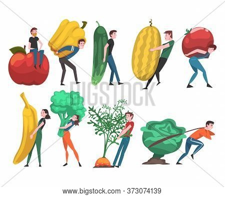 People Carrying Giant Vegetables And Fruits, Male And Female Farmers Characters Harvesting On Farm V