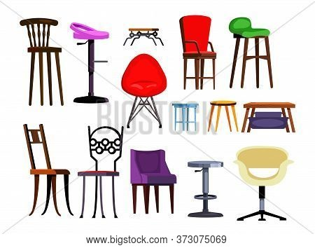 Chairs Set Illustration. Different Chairs On White Background. Can Be Used For Topics Like House Int