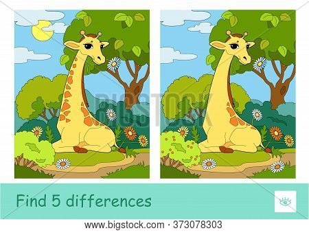 Find Five Differences Quiz Children Game With Image Of A Giraffe Eating A Flower Who Sits In A Woodl