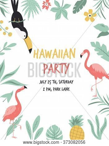 Hawaiian Card With Toucan, Flamingos, Flowers And Palm Leaves. Invitation Template, Banner, Card, Po