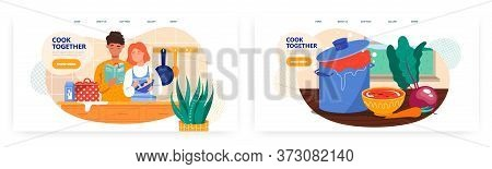 Family Couple Cooking Together In The Kitchen. Cook At Home, Vegetables, Recipe. Concept Illustratio
