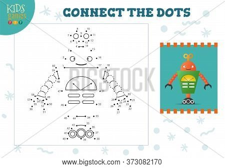 Connect The Dots Kids Mini Game Vector Illustration. Preschool Children Education Activity