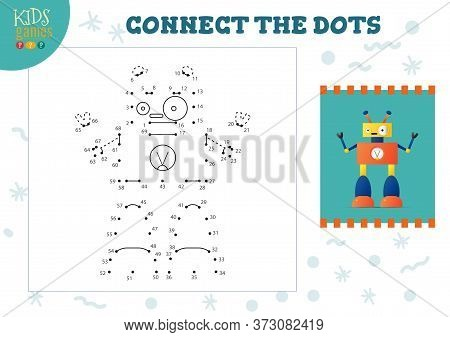 Connect The Dots Kids Mini Game Vector Illustration.