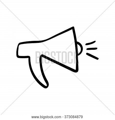 Loudspeaker Hand Drawn Icon. Single Social Media Networking Object. Vector Illustration.