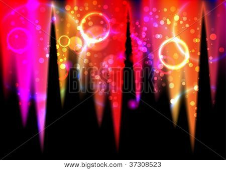 Abstract colorful light effects and round flares poster