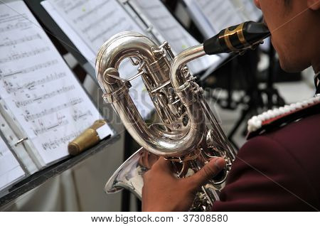 Musicians Are Playing On Trumpet