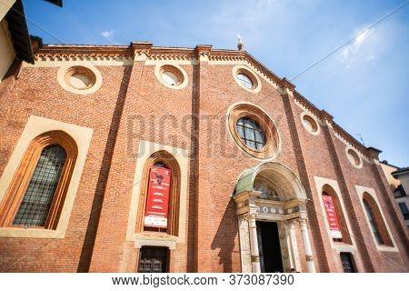 Milan. Italy - May 22, 2019: Facade of Church Santa Maria delle Grazie (Milan, Italy). The Home of