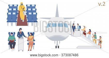 New Antiviral Flight Rules On Board, Vector Flat Illustration