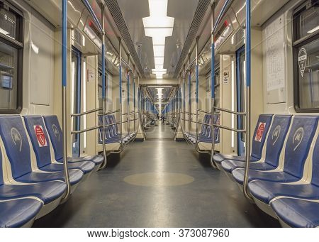 Moscow, Russia June 6, 2020: Metro Car Inside View. Interior Of A Passenger Metro Train, Armchairs,