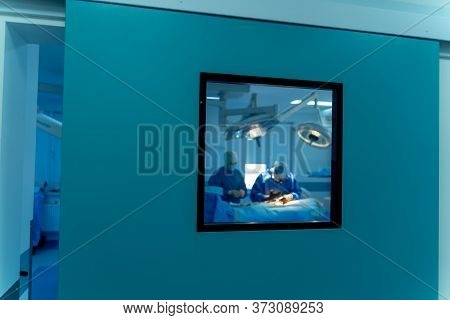Modern Equipment In Operating Room. Medical Devices For Neurosurgery. Background. Operating Theatre.