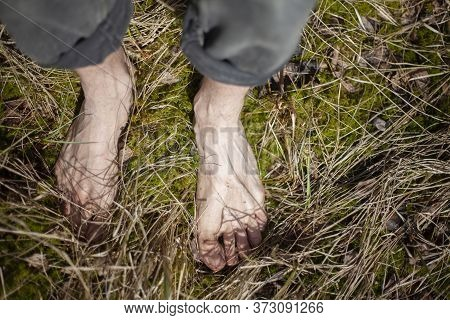 Bare Feet In The Grass. A Guy Stands Barefoot On The Ground. Foot Massage In A Natural Environment.