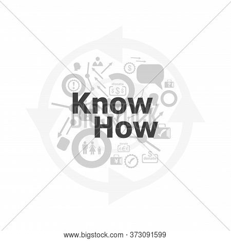 Text Know How On Digital Screen, Social Concept . Icon And Button Set